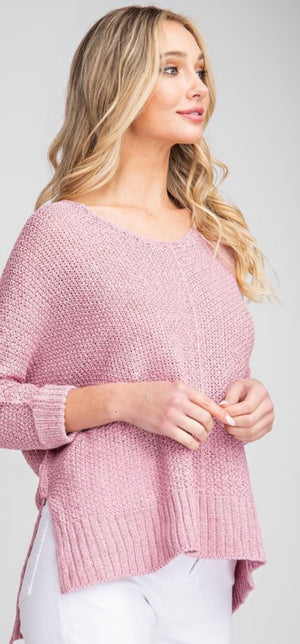 Mauve Oversized Lightweight Sweater