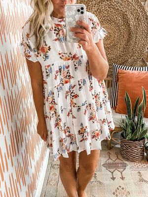 Ivory Floral Tiered Babydoll Dress