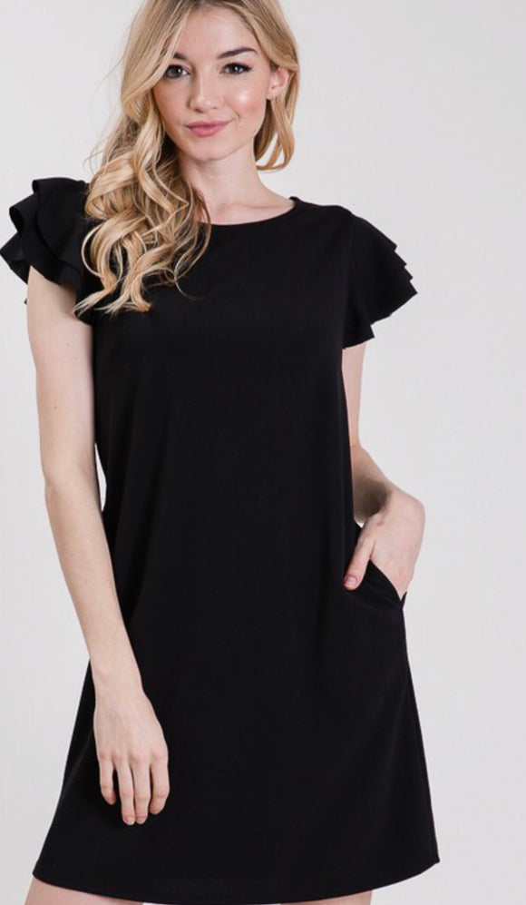 Black Ruffle Sleeve Pocket Shift Dress