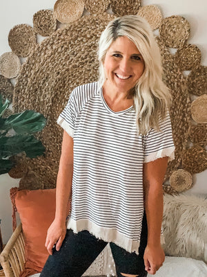 White Striped Short Sleeve Frayed Hem Top