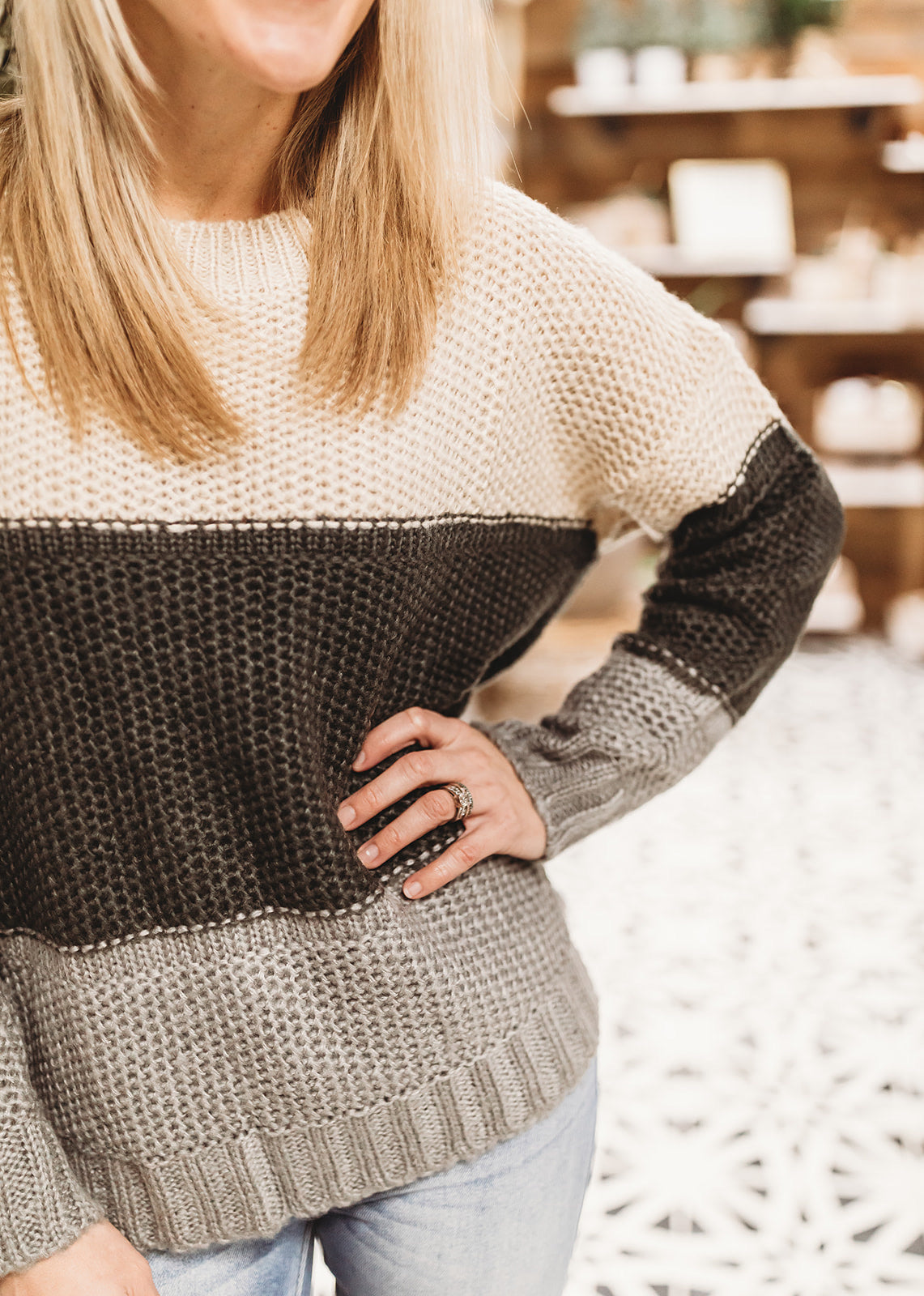 Taupe/Charcoal Colorblock Sweater