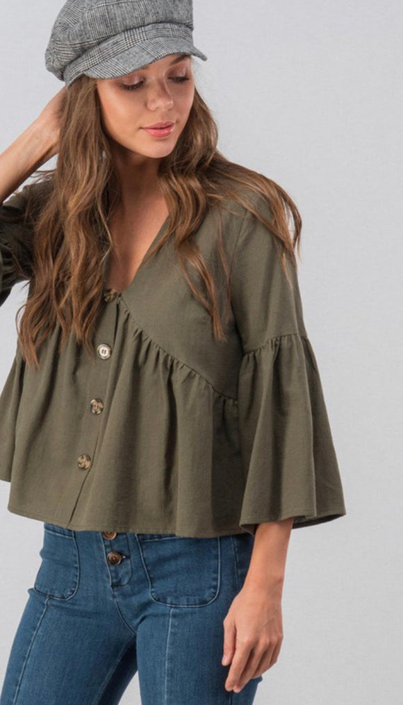Olive Bellsleeve Button Detail Top