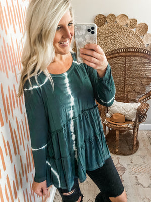 Deep Navy Tie Dye Tunic Top