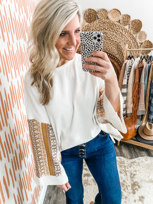 Ivory Statement Sleeve Oversized Top