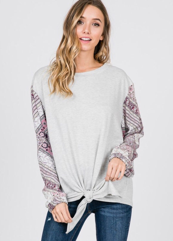 Heather Grey Patchwork Sleeve Sweatshirt