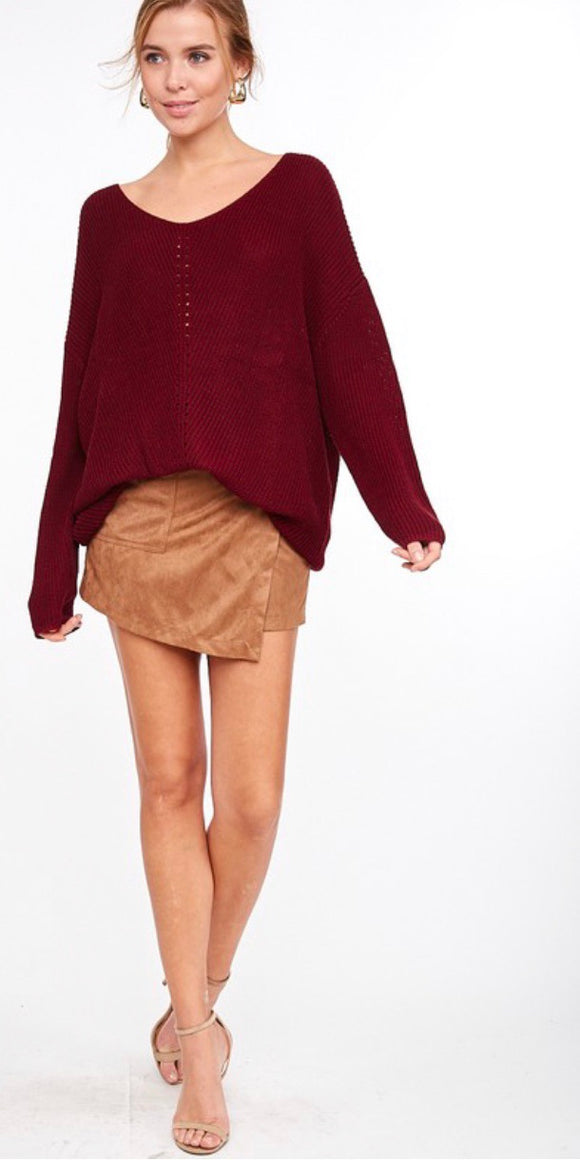 Wine Oversized V-Neck Sweater