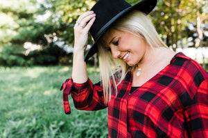 Checkered Plaid Highlow Top