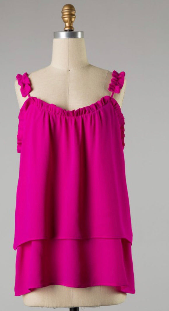 Magenta Cinched Strappy Tank