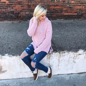Light Pink Popcorn Hooded Sweater