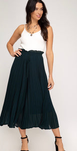 Seagreen Pleated Wide Leg Drawstring Pants