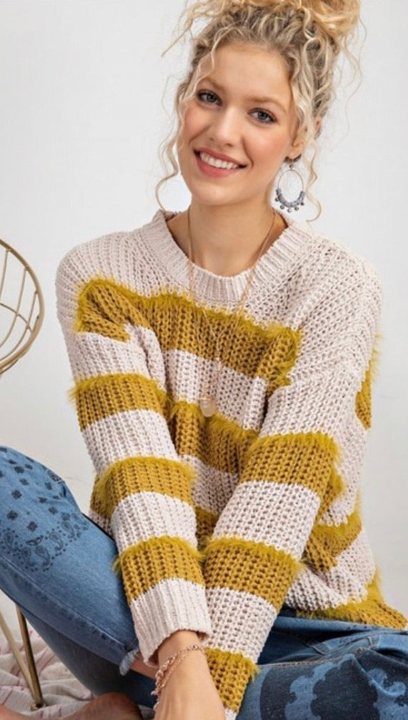 Mustard Striped Fuzzy Detail Sweater