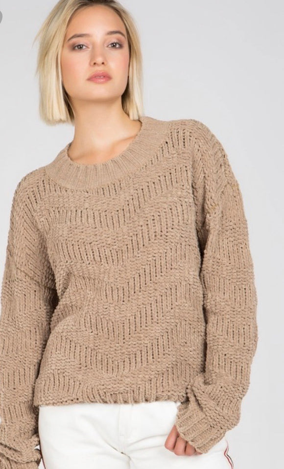 Light Brown Chevron Chenille Knit Sweater