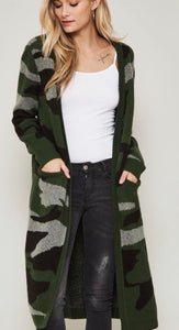 Camo Open Front Pocket Cardigan