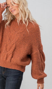 Rust Cableknit Drop Shoulder Sweater