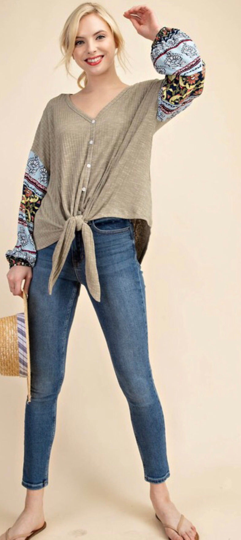 Light Olive Printed Sleeve Knotted Top