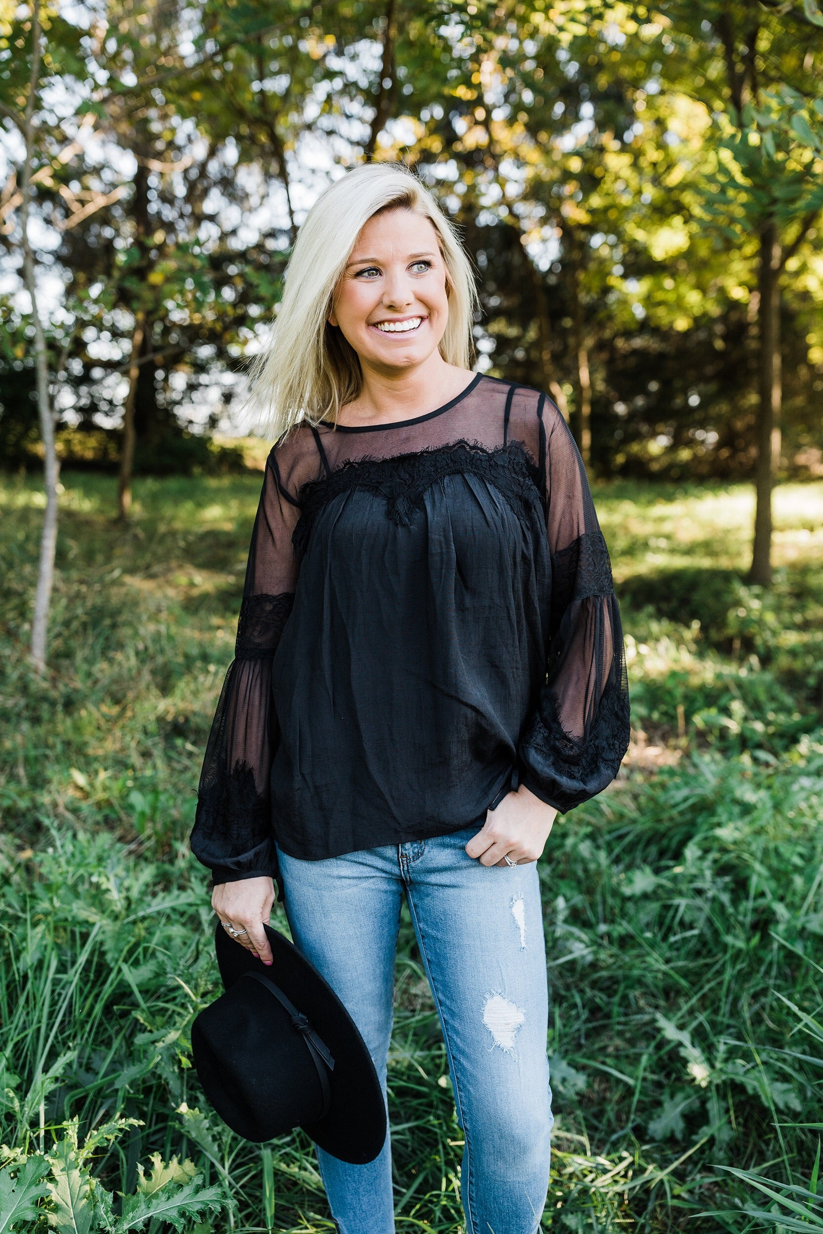 Black Lace Mesh Blouse