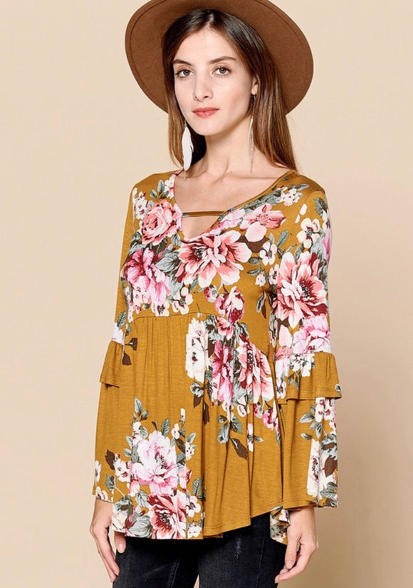 Mustard Floral Bell Sleeve Top