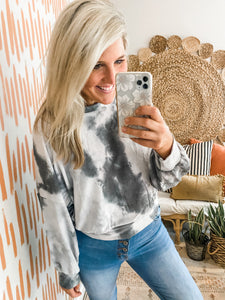 Charcoal Tie Dye Ballon Sleeve Pullover