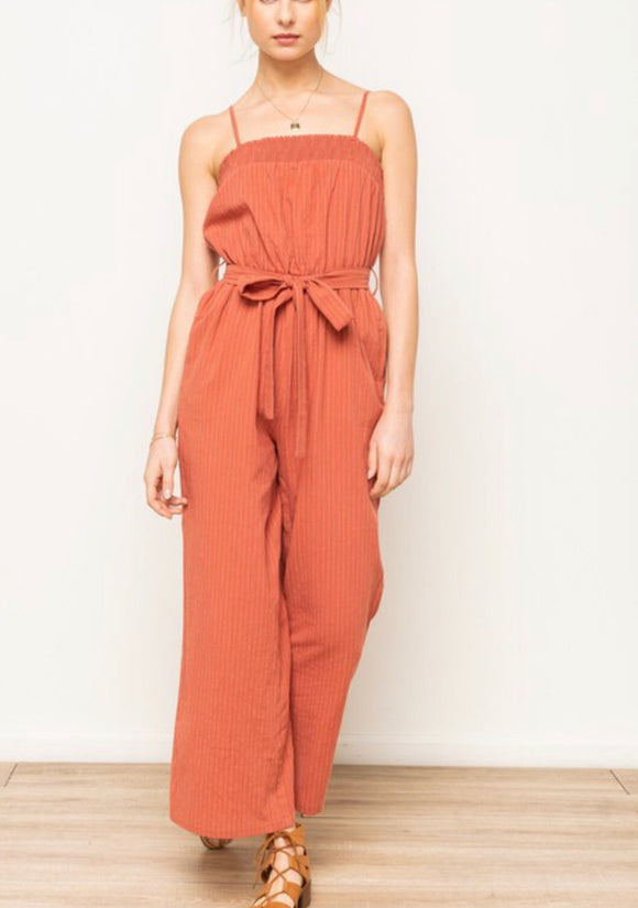Rust Smocked Belted Jumpsuit