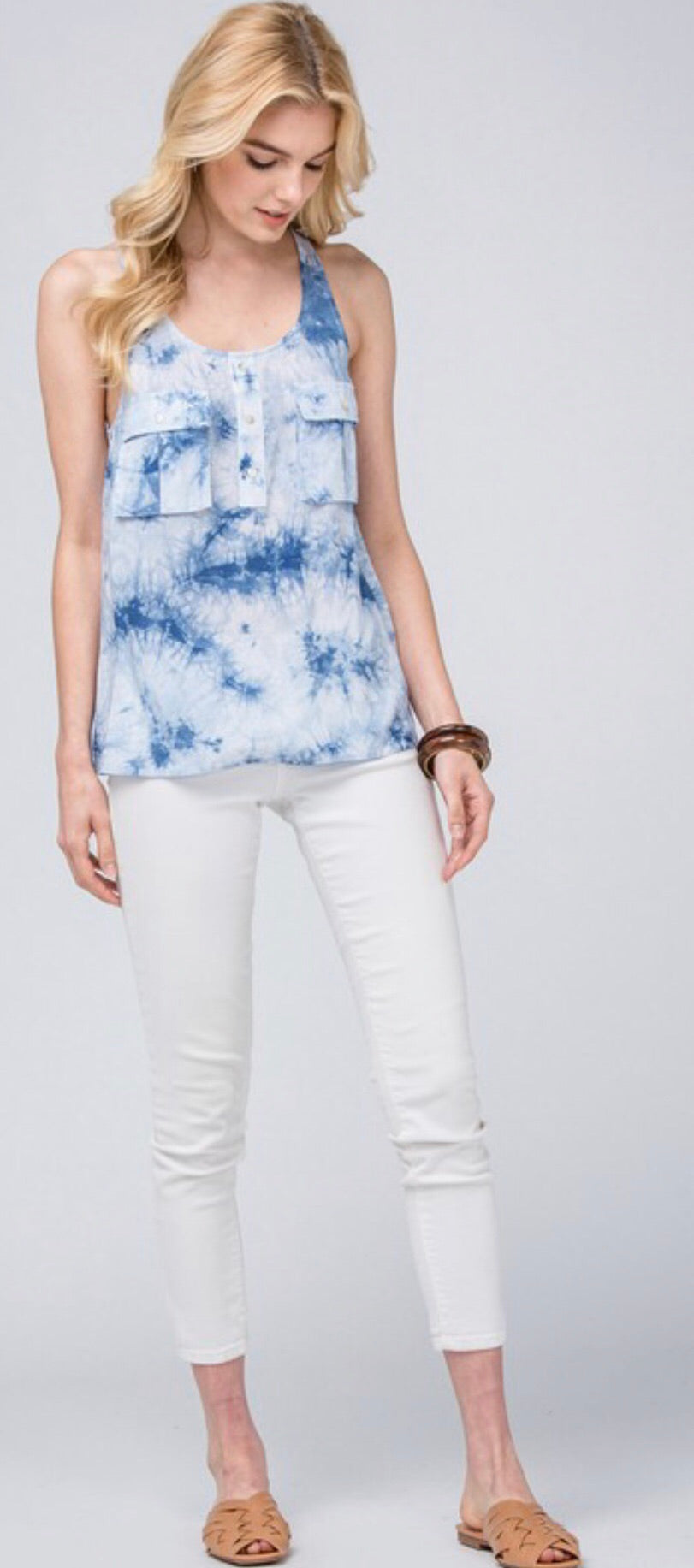 Light Blue Tie Dye Pocket Tank