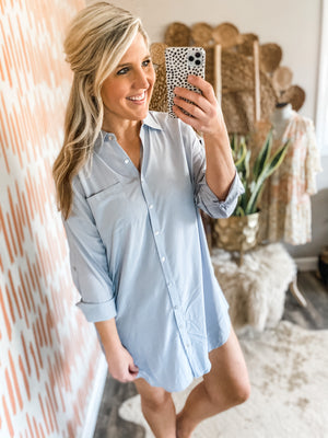 Cool Grey Pocket Shirt Dress
