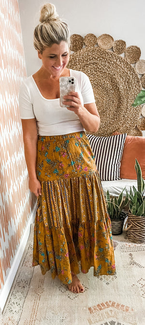 Mustard Wild Bloom Maxi Skirt