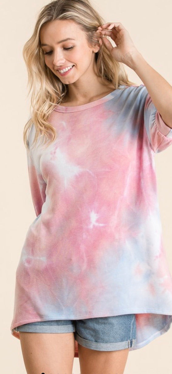 Pink Tie Dye Oversized Top