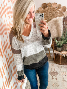 Taupe & Olive Colorblock Sweater