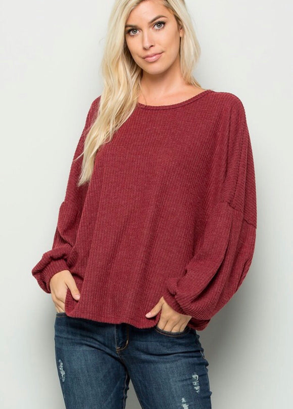 Burgundy Open Back Waffleknit Top