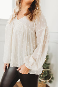 Ivory Puff Pom Blouse