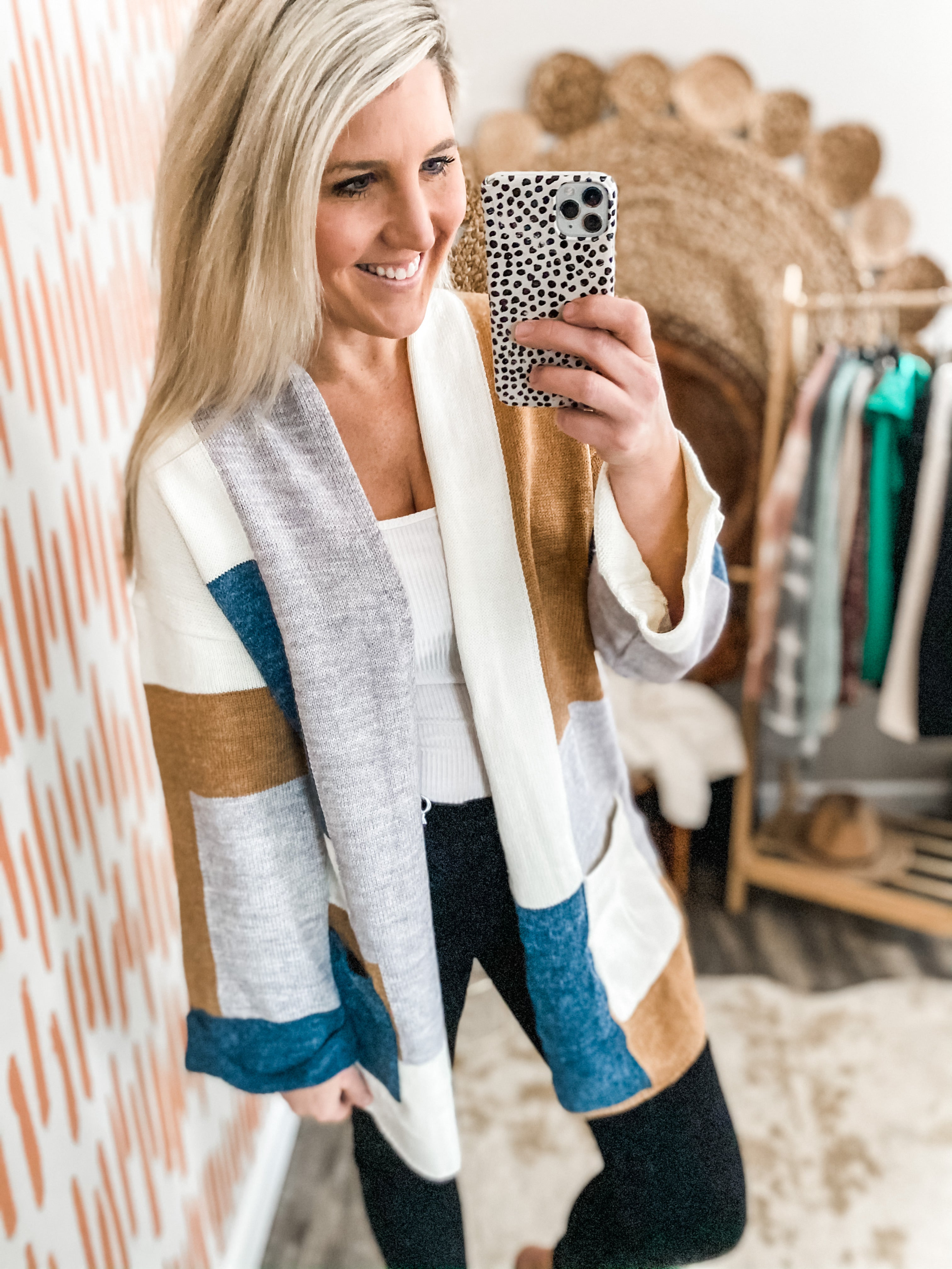 Teal Mix Colorblock Wide Sleeve Cardigan