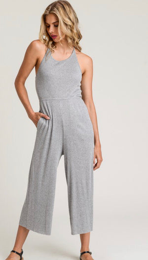 Grey Ribbed Halter Jumpsuit