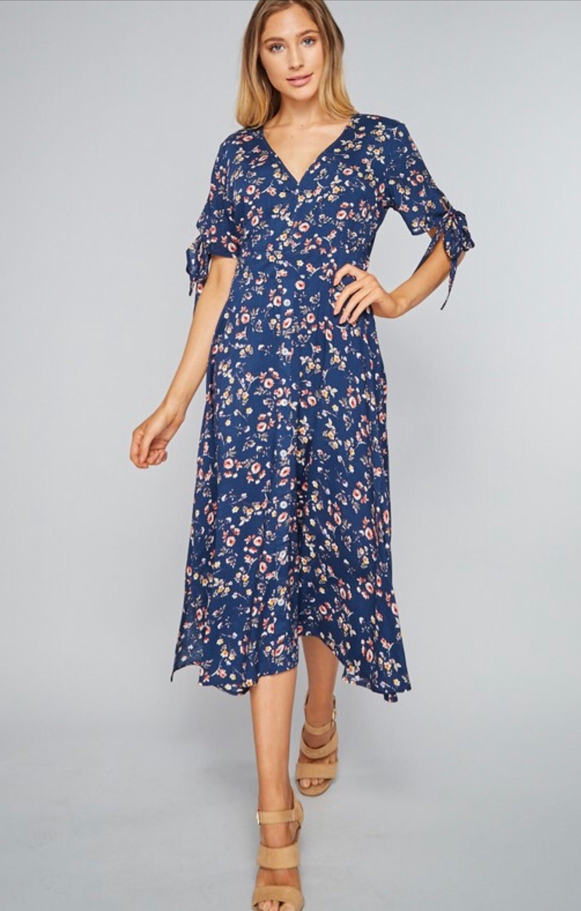 Navy Floral Knotted Sleeve Dress