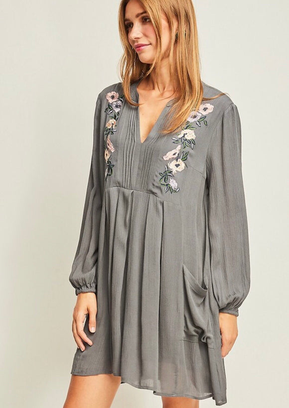 Charcoal Floral Embroidered Dress