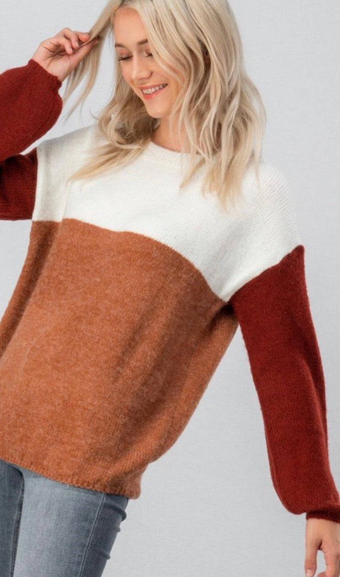 Brick & Rust Colorblock Sweater