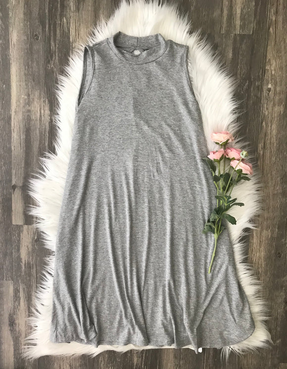 Heather Grey High Neck Tank Dress