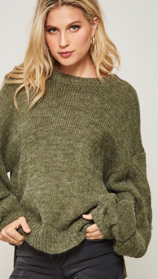 Olive Bubble Sleeve Knit Sweater