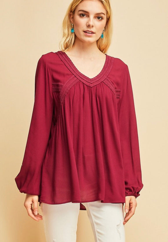 Burgundy Peasant Top