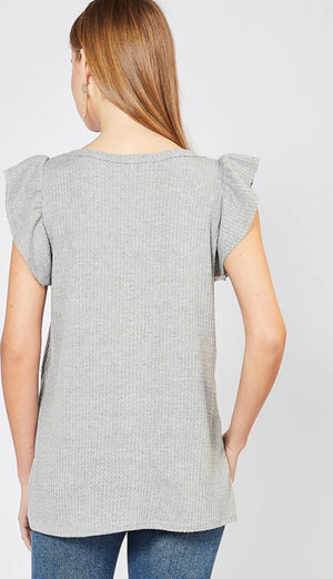 Grey Waffleknit Ruffle Sleeve Top