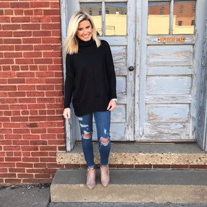 Black Turtleneck Tunic Top