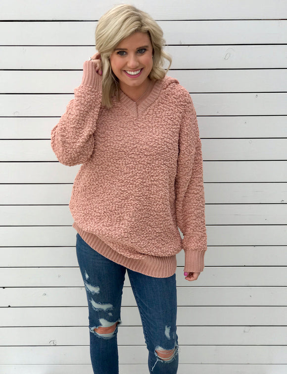 Peach Popcorn Hooded Tunic Sweater
