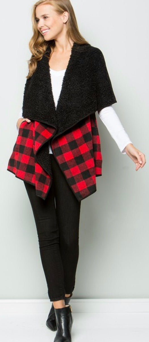Buffalo Plaid Fuzzy Vest