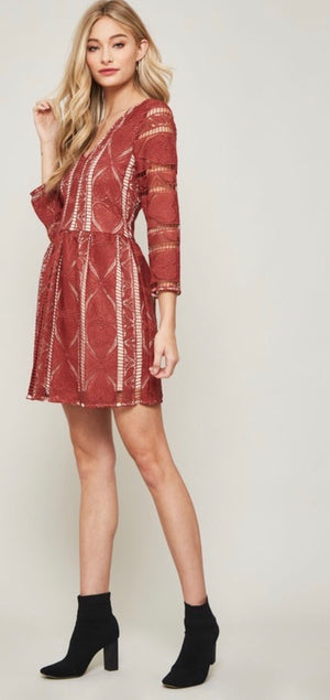 Terra Cotta Crochet Lace Dress
