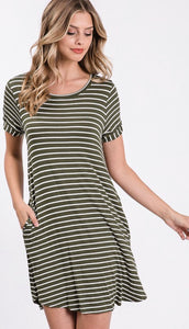 Olive Striped Button Back Detail Dress