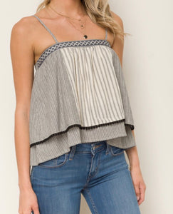 Strappy Stripe Double Layer Top