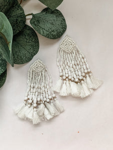 Cedar Street White Beaded Tassel Detail Earring