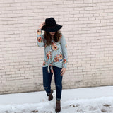 Mint Floral Waffleknit Top