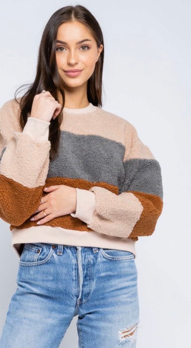Colorblock Fuzzy Crew Neck Sweatshirt