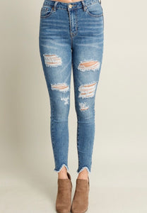 Medium Wash Distressed High Waist Denim