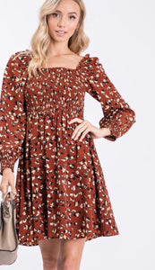 Rust Ditsy Floral Dress
